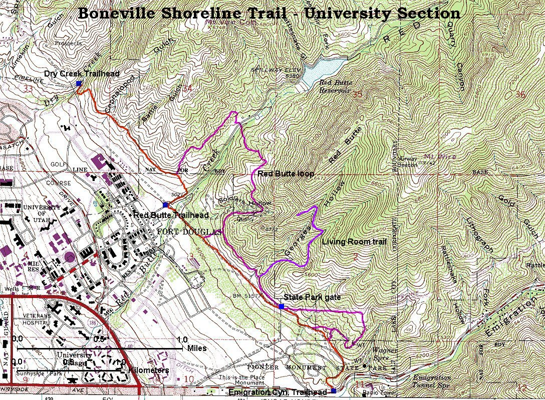 Central Wasatch Front Living Room Hike Map