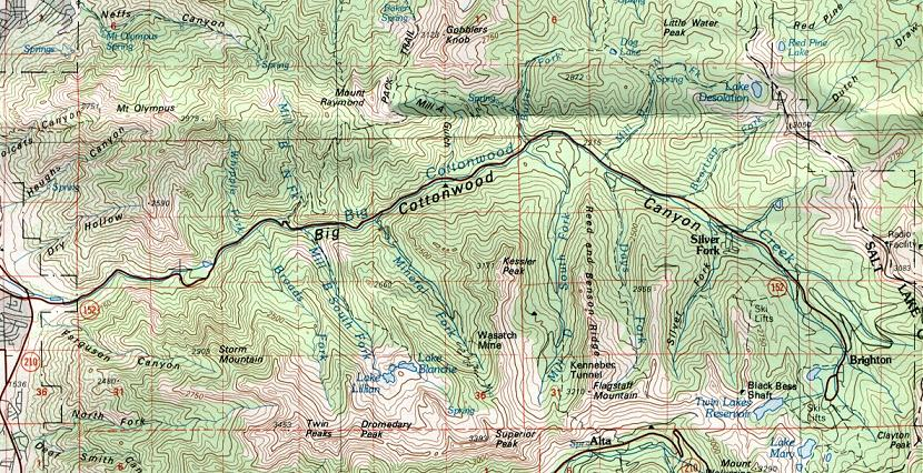 Map Of Hikes In The Big Cottonwood Canyon - Brighton utah us map