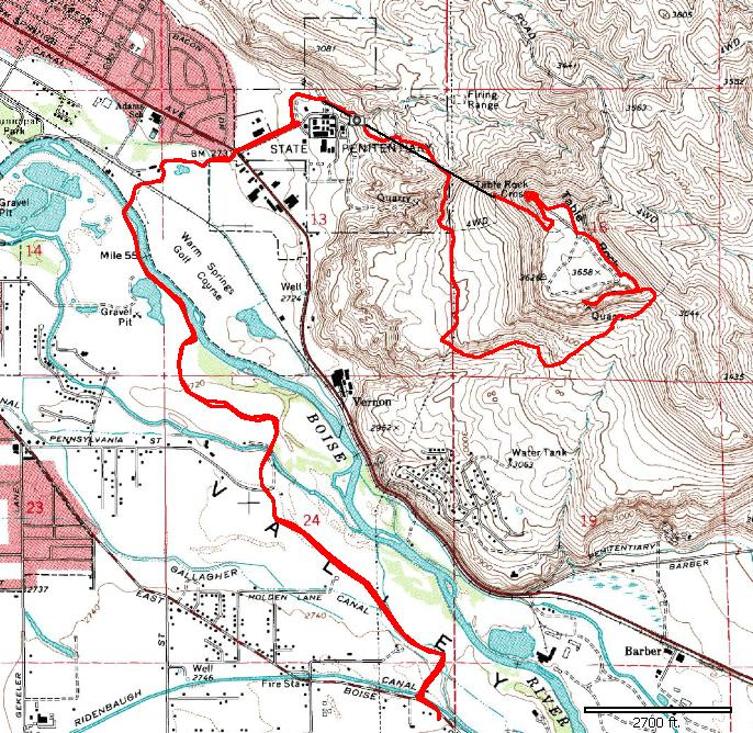 9 Km To Miles >> Boise - Table Rock