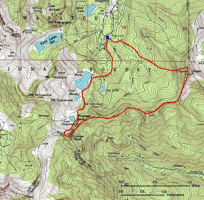 Brighton Utah Map.Hiking Around Salt Lake